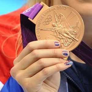 7.29.2012 Rebecca Adlington wearing Minx UK Flag Nails for 400m final 300x300 @MinxNailsDotCom Makes National Flag Nails At London Olympics