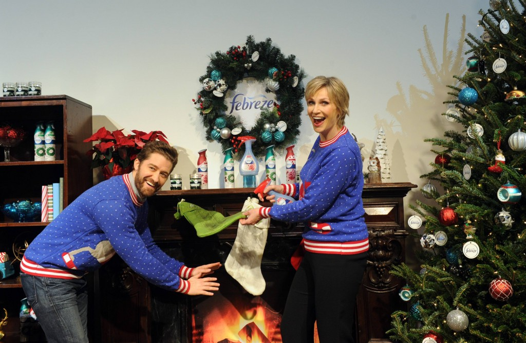 Jane Lynch and Matthew Morrison host the Febreze #12Stinks of Christmas Party, Monday, Nov. 30, 2015 in New York, where they unveiled ÒThe #12Stinks of ChristmasÓ video, a parody on the classic holiday tune. Febreze eliminates stinks in a merry way, keeping hosts guest-ready all season long. The video, starring the duo, is available now on the brandÕs YouTube channel. (Photo by Diane Bondareff/Invision for Febreze/AP Images)